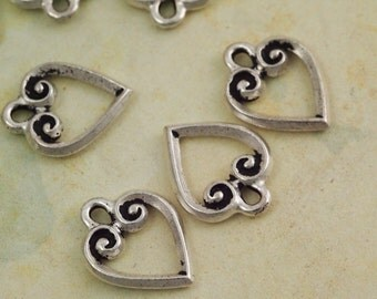 SALE 3 Flourish Heart Charms - Made in the USA Tierra Cast - 13mm X 11mm - Handmade Jump Rings Included - Antique Silver, Copper and Gold