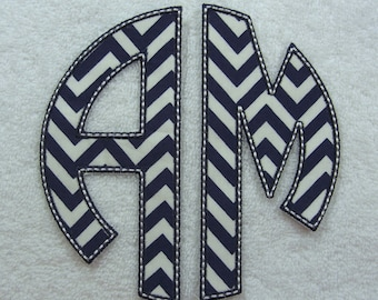 Double Circle Monogram (X-Large) Fabric Embroidered Iron On Applique Patch MADE TO ORDER