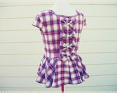 Rag and Bows Plaid Peplum Top - OOAK Top, Fall Plaid Top, Bow Back Top, Fall Fashion, Size Large