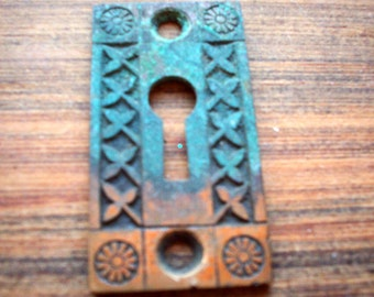 Antique Eastlake Solid Cast Brass Escutcheon. Keyhole Cover. Key Plate. Authentic Victorian Hardware.