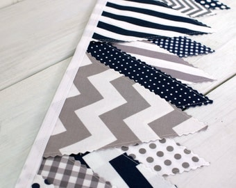 Bunting Banner Flags Photo Prop Blue Boy Nursery Decor Nursery Banner Nursery Flags Navy Blue Gray Grey Stripes Chevron Dots Gingham