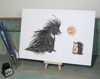 Nice Hair ~ Porcupine & Hedgehog Humorous Illustration - A3 Print on 175gsm Card available in 2 Colours