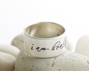 Affirmation Healing and Strength Silver Ring