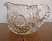 ON SALE Crystal Creamer Etched 1900s