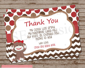 Girl Sock Monkey Baby Shower Thank Card