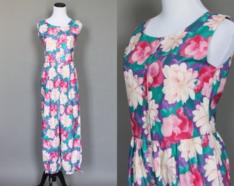 1980s Jumpsuit Vintage Floral Summer One Piece Pink Teal and Purple Playsuit Medium