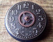 Steampunk Blue Treasure Box with Vintage Watch Face - Time Capsule - Jewelry Box - Vintage Box