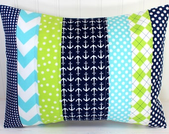 Nursery Pillow Cover, Throw Pillow Cover, Anchor Nursery Decor,  Lime Green, Aqua Blue, Navy Blue, Anchors, Nursery Decor Nautical, 12 x 16