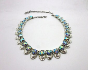 SALE Vintage Coro Silver Tone Aurora Borealis Rhinestone Necklace