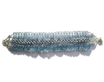 Jewellery Beadwork Blue Bracelet Swarovski Sapphire Aquamarine crystal glass pearl right angle weave ornate silver cuff
