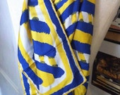 Vintage Blue Yellow Silk Acarf By Vera