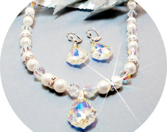 Necklace and Earrings, Bridal, Wedding Jewelry, Pearl Jewelry, Baroque. Crystal, Pendant Bridal Accessories Austrian Crystal Bridal Jewelry