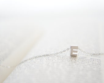 "Silver Letter, Alphabet, Initial capital ""E"" necklace, birthday gift, lucky charm, layered necklace"