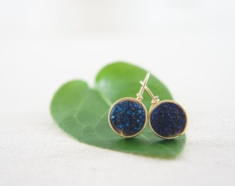 dark blue titanium Druzy Quartz earrings 14K gold fill wrapped earrings, wedding, bridesmaid, gift