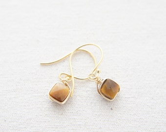 Gold wire wrapped tiger eye gemstone faced cube earrings, wedding, bridesmaid, french hooks