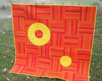 "53"" x 53"" Patchwork Quilt in Orange and Yellow"