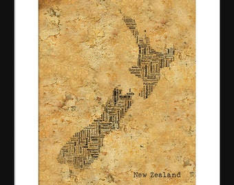 New Zealand Map Typography Map Poster Print Text Map
