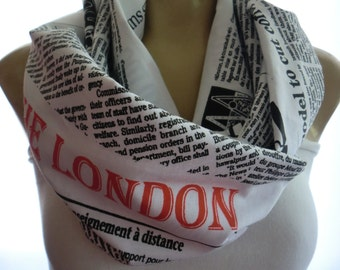Black and white newspaper print  cotton infinity scarf,European cotton