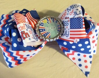 Little Miss 4th of July Boutique Hair Bow
