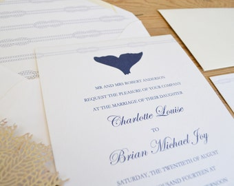 Whale's Tail Wedding Invitation Card Suite