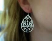 Silver Teardrop Earrings, Large Filigree Earring Dangles, Sterling Silver Rhodium Plated Earrings - FLORA