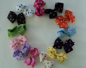 """Destash Bows Polka Dot  3"""" Hair Clip Baby Bows Assorted Colors Set of Ten"""