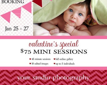 Instant Download - Photoshop PSD layered Templates for Photographers - Marketing Board - Holiday Mini Sessions - Valentine Red
