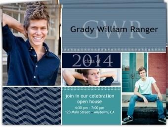 10-4x6 or 5x7 Graduation Senior Invites Announcements Photo Cards/you can change the colors/Grady Design