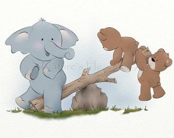 5 x 7 Cute Childrens Wall Art Print, Teddy Bear Baby Nursery Decor, Kids Room Artwork (131)