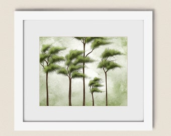 Green Tree Wall Art 11 x 14 Print  Living Room Decor, Nature Wall Decor, Forest Art Print, Natural Colors  (149)