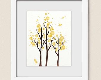 8 x 10 Canary Yellow Home Decor, Tree Wall Art Print Living Room Decor (318)