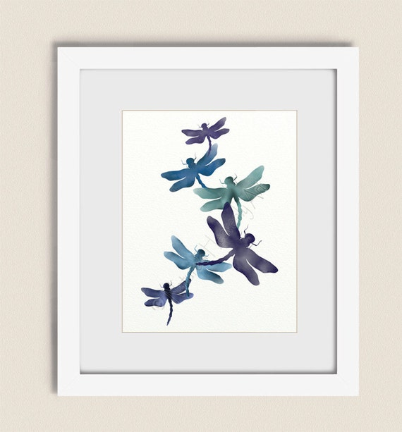 11 x 14 purple blue living room wall art dragonfly art print for Living room 11 x 14
