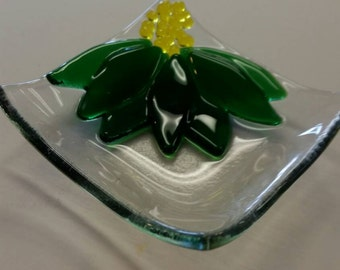 Green flower fused glass mini dish