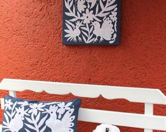 Private listing Linen navy blue and white and tan and white Otomi gallery wrap fabric painting.