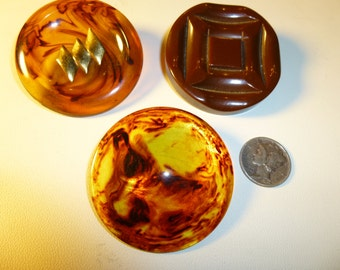 A Trio of  Big Brown Bakelite Buttons.  Vintage  1940s.