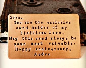 Wallet Card Insert, Copper, BRUSHED MATTE FINISH, Hand Stamped, Anniversary,  Husband, Boyfriend, Birthday,  Wedding, Love, Poem, Lyrics