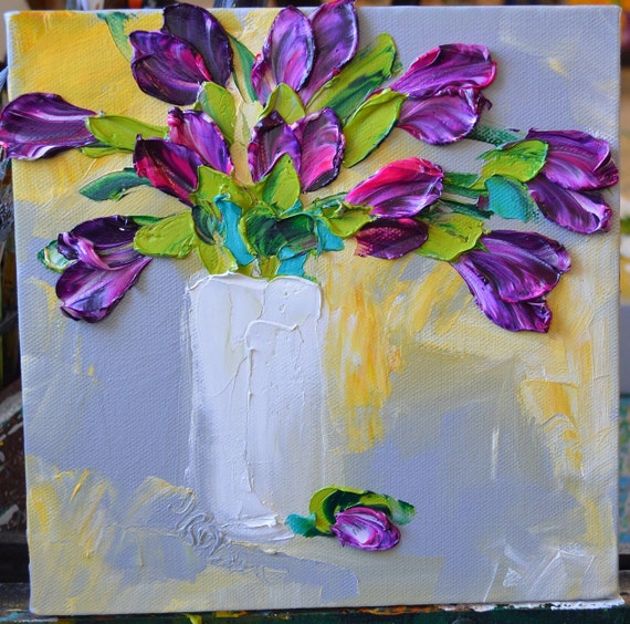 Magenta Home Decoration: Oil Painting Purple Magenta Tulips Home Decor By