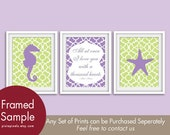 Nursery Nautical Seahorse & Starfish Prints - Set of 3 - Art Prints (Featured in Imperial Violet and Spring Green)