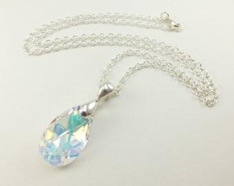 Raindrop Necklace Clear Crystal Drop Necklace Sterling Silver Swarovski Teardrop Necklace