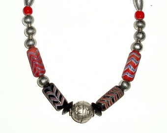 "TIBETAN repoussee, INDONESIAN ZIGZAG glass 17"" necklace, onyx, red white heart trade beads, silver, black, beige,decorative metal"