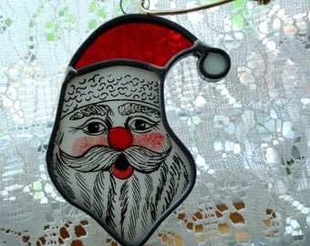 Vintage Santa Stained Glass Ornament Sun Catcher