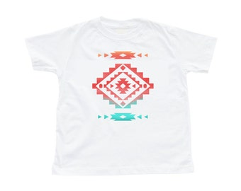 Cool Native American Aztec Southwest Indian Style Print Toddler Cotton Tee Shirt Great Gift Idea Navy or White