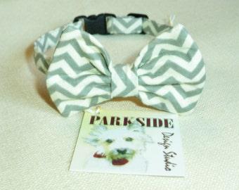 Grey and White Chevron  Breakaway Cat Bow Tie Collar