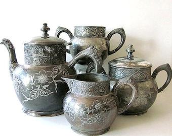 Antique Silver Tea Service Hartford Silver Tea Pot Sugar Bowl Creamer Tea Set