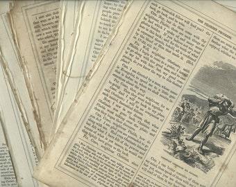 10 Antique Victorian, Shabby, Text Pages from: John Bunyan, Pilgrim's Progress,1864,Text, Art, Print, DIY 'Dictionary' Art