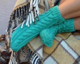 Hand knit socks green womens socks gift for her Christmas cable knit socks