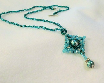 CLEARANCE PRICED - Hand Beaded Turquoise, Teal and Silver Beaded and Crystal Necklace