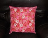 Valentine Candy & Pink Chevron  -   18 inch Throw Pillow COVER ONLY
