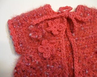Baby Vest, Baby Girl, 3 to 6 months, Beautiful Yarn,  Designed and Created by  Norm