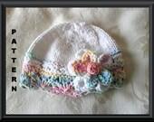 Baby Hat Pattern Newborn Baby Hat Knitted Hat Pattern Infant Knit Hat Pattern Baby Hat with Flower Hat Pattern : BIG FAT FLOWER